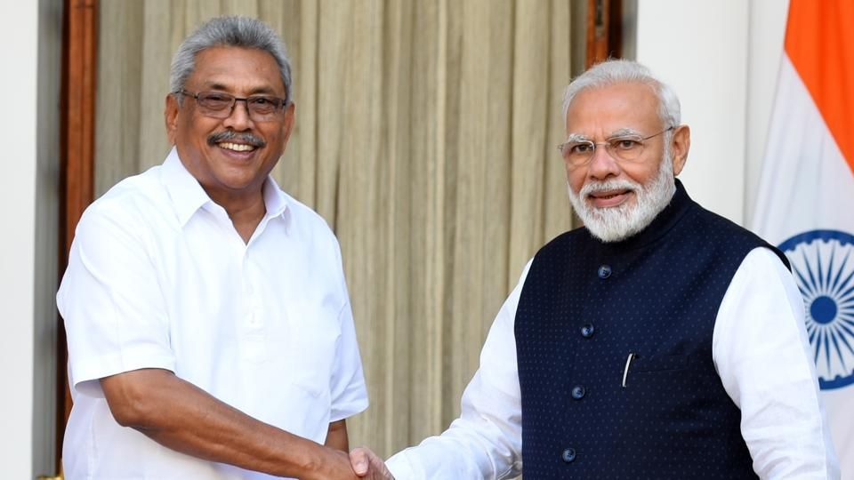 Prime Minister Narendra Modi with Sri Lankan President Gotabaya Rajapaksa ahead of their meeting at Hyderabad House, in New Delhi in November 2019.