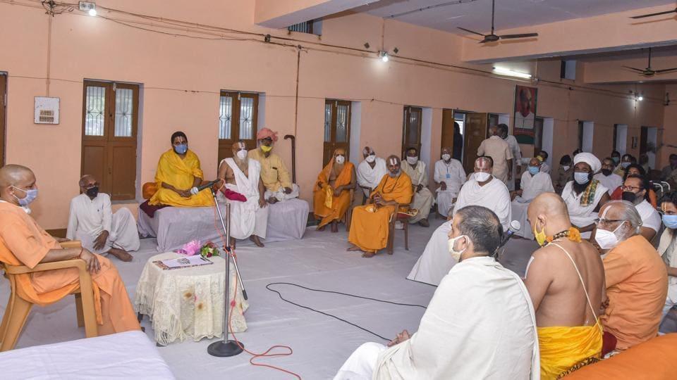 Uttar Pradesh chief minister Yogi Adityanath  held  a meeting with sadhus during his visit to Ayodhya on Saturday