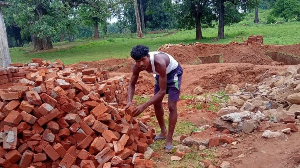 The construction of a demolished school in a village started a week ago with the help of local villagers and Maoists who have surrendered.