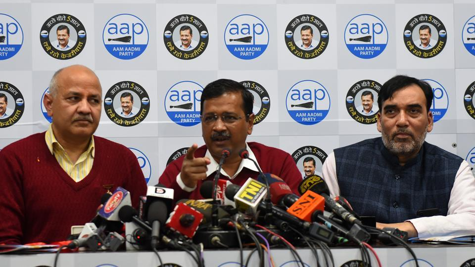 Delhi labour minister Gopal Rai (extreme right) with chief minister Arvind Kejriwal and deputy chief minister Manish Sisodia.