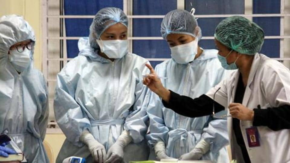 Healthcare workers at a Covid-19 hospital during the nationwide lockdown due to coronavirus in Gangtok.