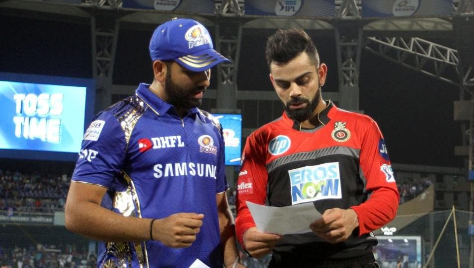 Rohit Sharma captain of the Mumbai Indians and Virat Kohli captain of the Royal Challengers Bangalore during the toss of a match.