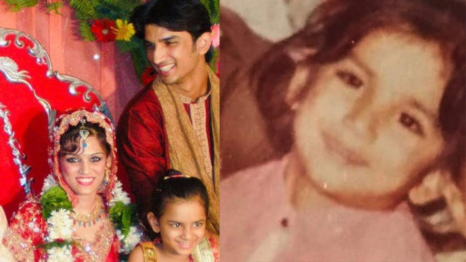 Sushant Singh Rajput at his sister Shweta Singh Kirti's wedding (left) and as a child (right).