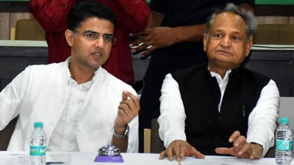 Rajasthan chief minister Ashok Gehlot with former deputy chief minister Sachin Pilot during a party committee meeting in Jaipur September 2019.