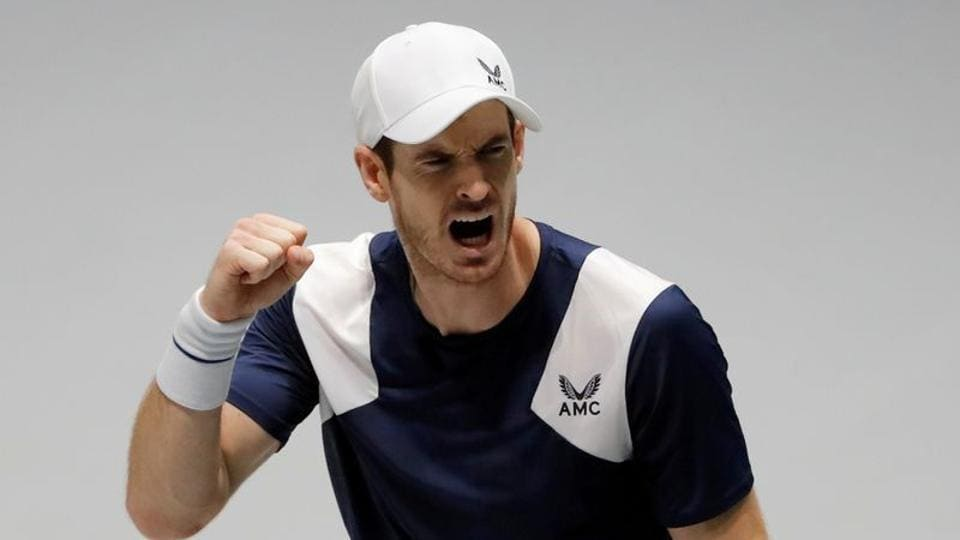 Britain's Andy Murray reacts during his match against Netherlands' Tallon Griekspoor.