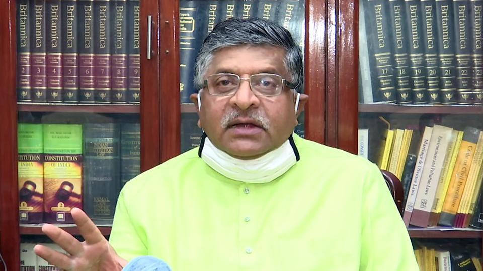 Union Law Minister Ravi Shankar Prasad speaks on 45 years of emergency, in New Delhi.