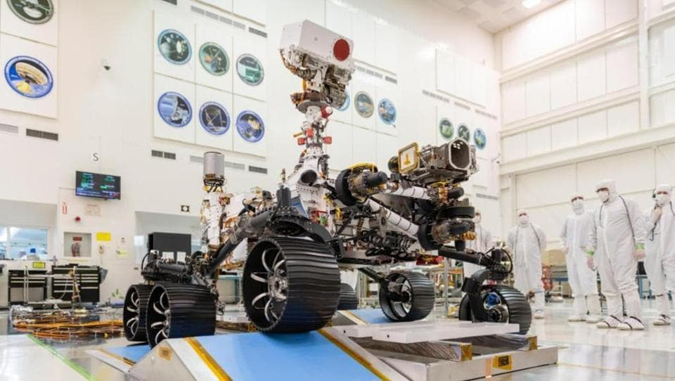 The six-wheeled, car-sized Perseverance is a copycat of Nasa's Curiosity rover, prowling Mars since 2012, but with more upgrades and bulk.