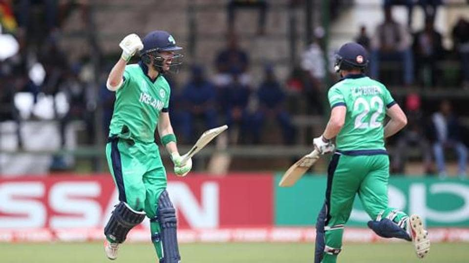 Andrew Balbirnie of reland acknowledges his century during The ICC Cricket World Cup Qualifier at The Old Hararians Ground on March 18, 2018 in Harare, Zimbabwe.