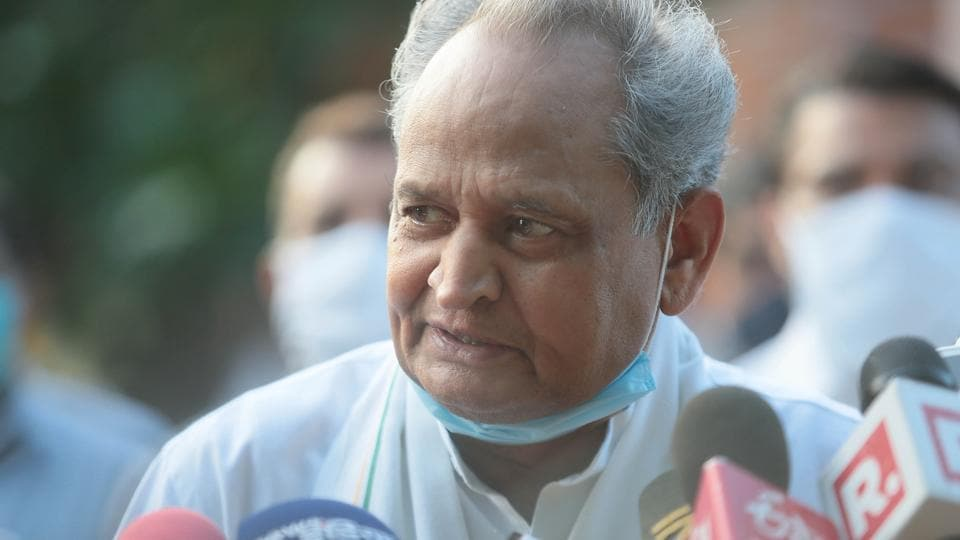 Rajasthan Chief Minister Ashok Gehlot speaks to the media outside the Governor's residence, in Jaipur, Rajasthan.