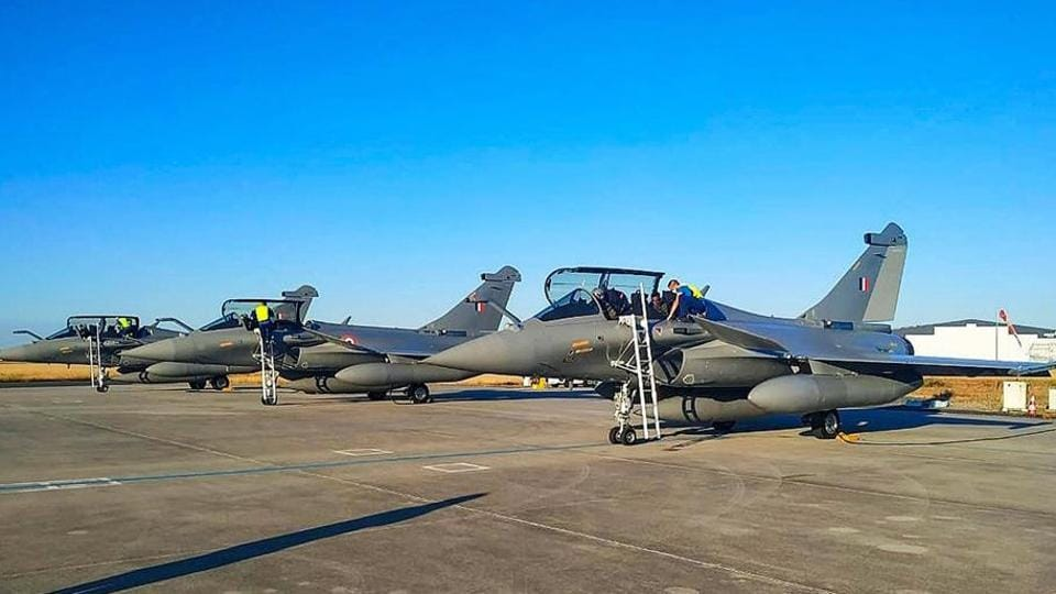 The first batch of Rafale aircrafts prepares to take off from Dassault Aviation Facility, Merignac, in France.