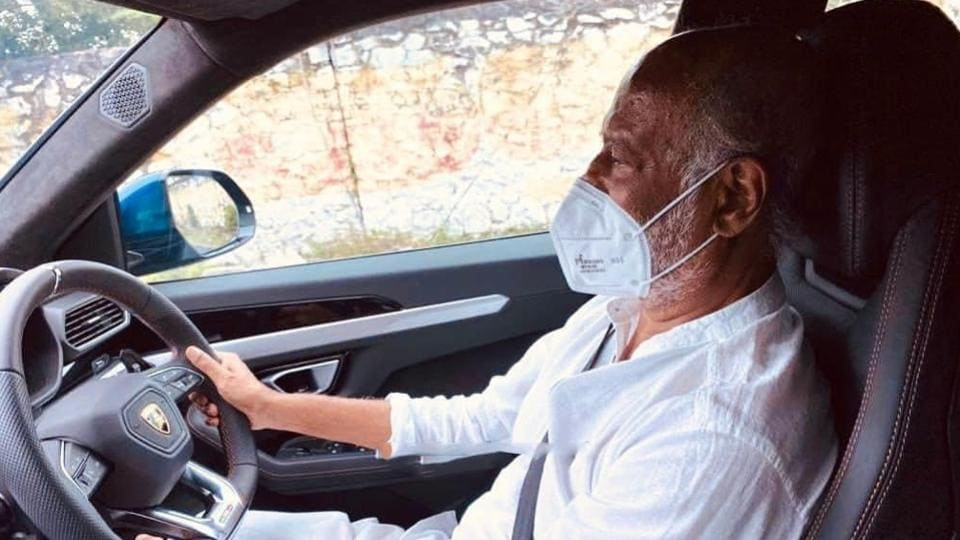 Rajinikanth's picture of driving a Lamborghini with a face mask on went viral some days back.