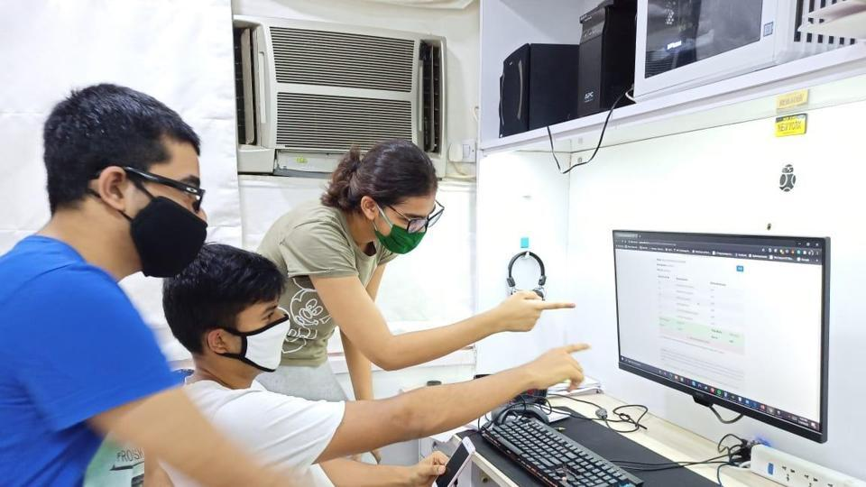 Students after their 10th SSC Result were declared online at Vashi in Navi Mumbai, India, on Wednesday, July 29, 2020.