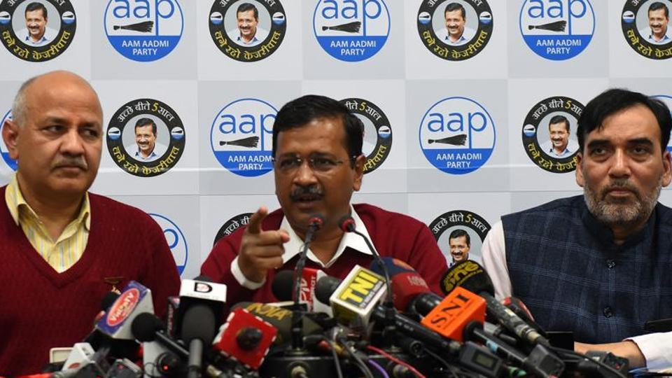 Delhi Chief Minister and Aam Admi Party (AAP) National Convener Arvind Kejriwal addresses the media  in Delhi.