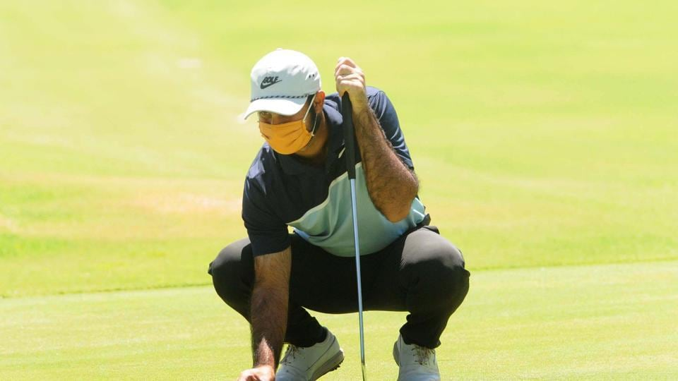 Chandigarh, India - May 20, 2020: Professional golfer Shubhankar Sharma during practice at Chandigarh Golf Club that has opened following relaxations in lockdown in Chandigarh, India on Wednesday May 20, 2020.