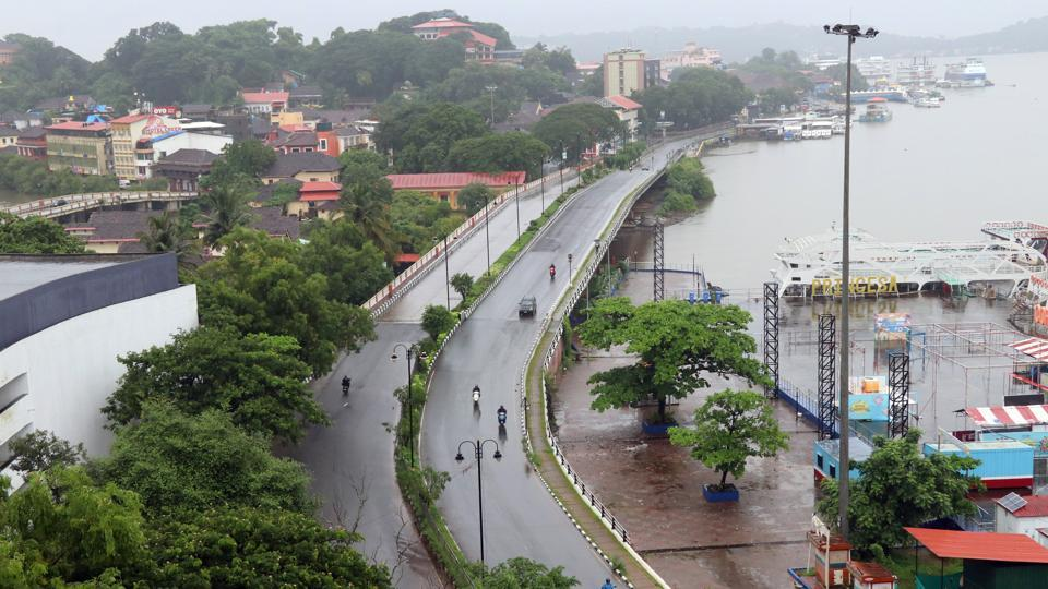 A view of the deserted streets as Goa government has imposed lockdown following the rising cases of Covid-19, in Panaji.