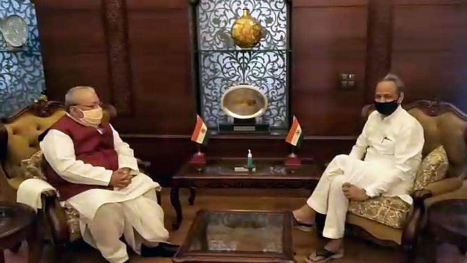 Rajasthan Chief Minister Ashok Gehlot meets Governor of Rajasthan Kalraj Mishra at Raj Bhavan in Jaipur on Wednesday.