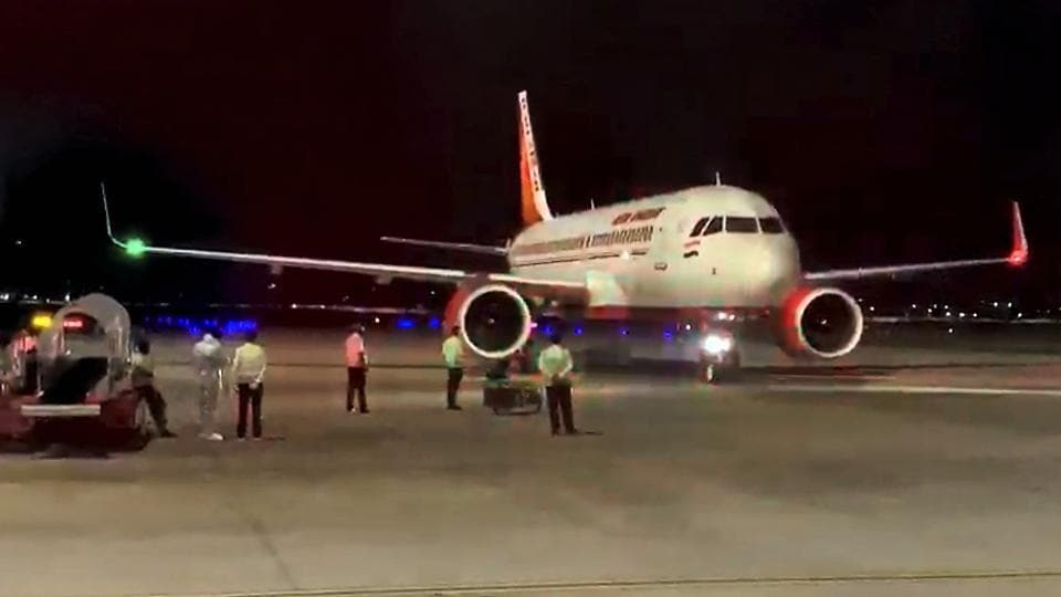 An Air India flight carrying 125 passengers from Kyrgyzstan arrives at Devi Ahilya Bai Holkar Airport under the Vande Bharat Mission, in Indore.