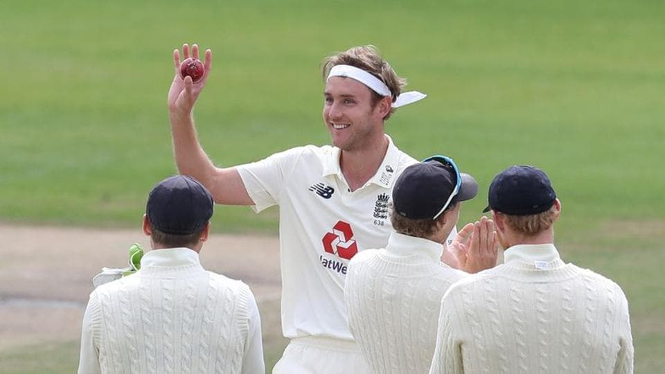 England's Stuart Broad celebrates taking his 500th test wicket with teammates after taking the wicket of West Indies' Kraigg Brathwaite.
