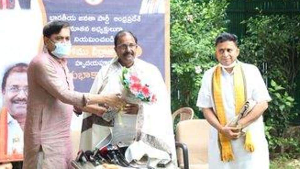 Somu Veerraju being felicitated for being named the BJP's Andhra Pradesh unit chief. (Photo @somuveerraju)