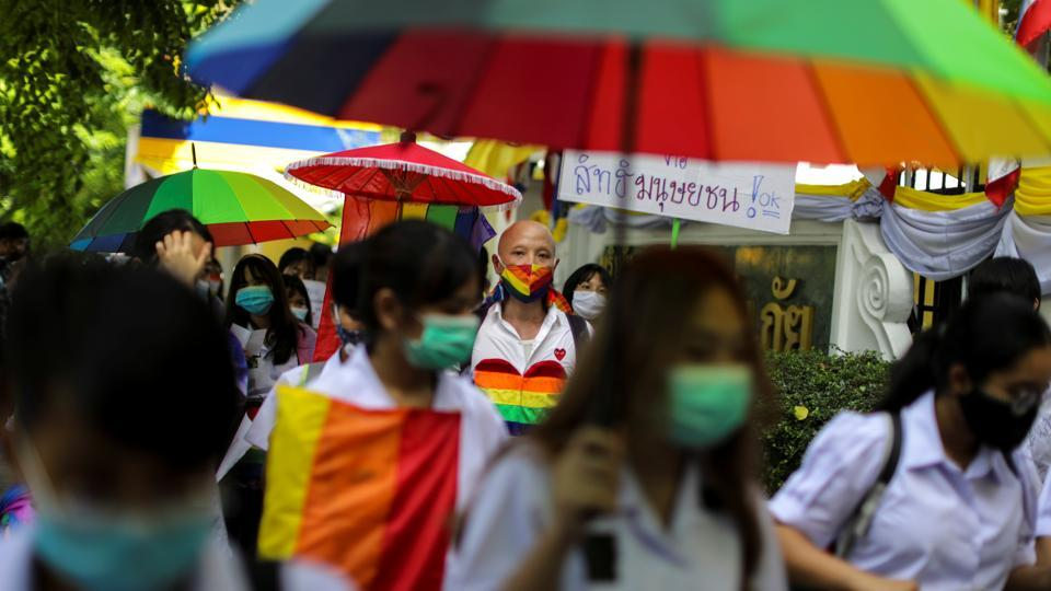Members of a youth pride student group attend a rally for gender rights in Bangkok, Thailand July 29, 2020.