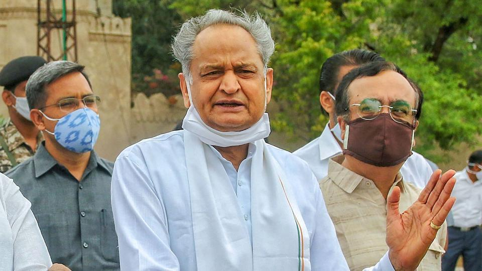 Rajasthan chief minister Ashok Gehlot outside a hotel in Jaipur on July 24, 2020.