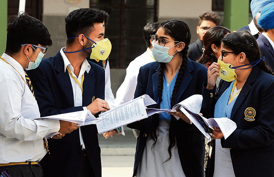 In the month of March, after CBSE's guidelines, students of class 10+2 gave their exams in person and wore masks to the examination centres.