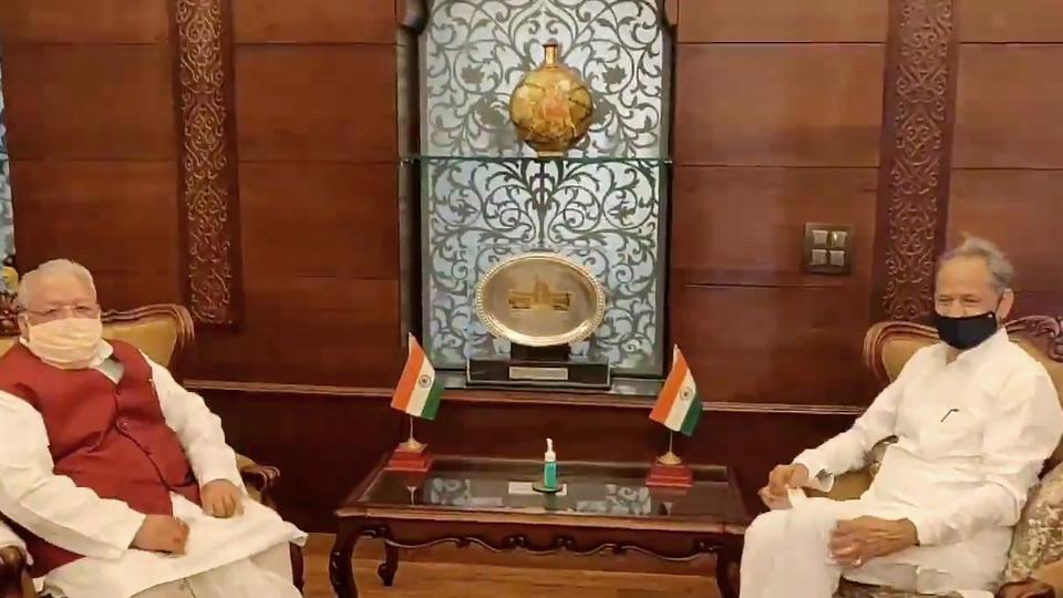 Rajasthan Chief Minister Ashok Gehlot meets Governor Kalraj Mishra at Raj Bhavan in Jaipur.