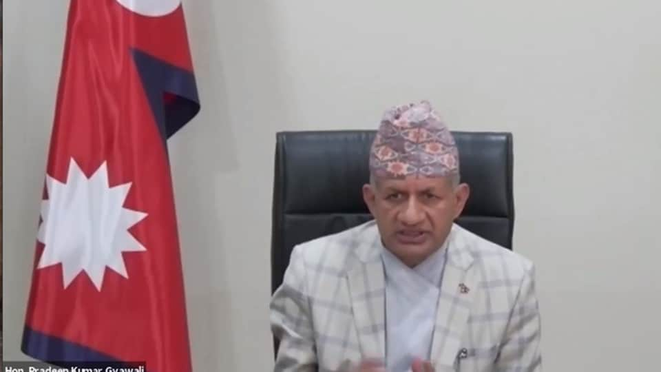 """Participating in a webinar, Nepal's foreign minister Pradeep Gyawali responded to a question on the border row with India by saying that the issue was one of the """"unresolved questions left by history""""."""