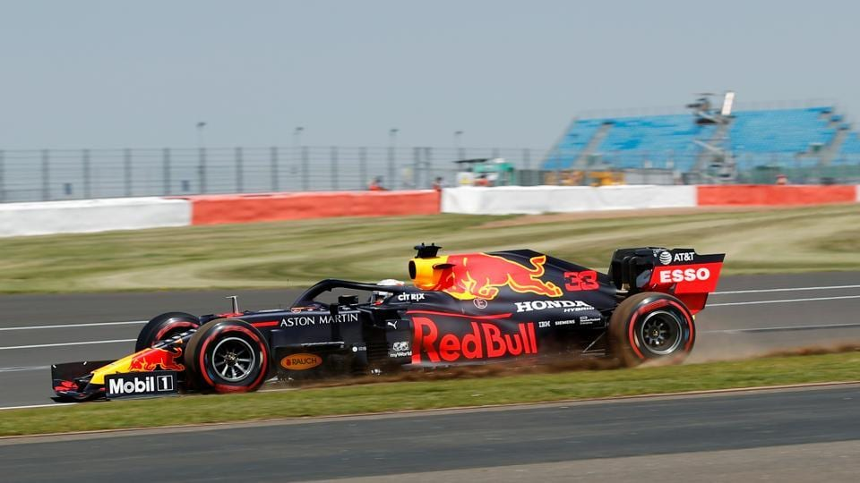 Red Bull's Max Verstappen in action during practice