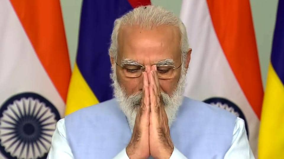 Prime Minister Narendra Modi greets during the inauguration of the new Supreme Court building of Mauritius through video conferencing, in New Delhi on Thursday.