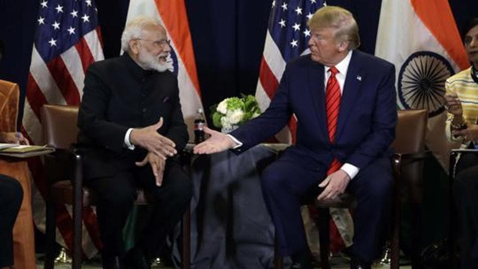 US President Donald Trump meets with Prime Minister Narendra Modi at the United Nations General Assembly in New York.