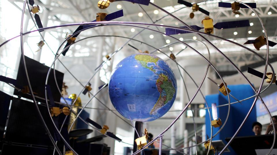 A model of the BeiDou navigation satellites system is seen at an exhibition to mark China's Space Day 2019 on April 24, in Changsha, Hunan province, China.