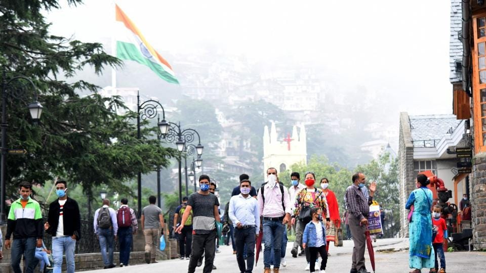 People at the Ridge in Shimla. Tourists with bookings for not less than five days and having been tested negative for Covid-19 not earlier than 72 hours at the time of entry will be exempted from quarantine but will have to take measures such as wearing masks and observing social distancing.
