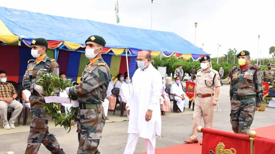 Manipur chief minister Nongthombam Biren Singh is seen during the wreath-laying ceremony for the three soldiers of Assam Rifles, who were killed in an ambush, at Imphal airport on Friday.