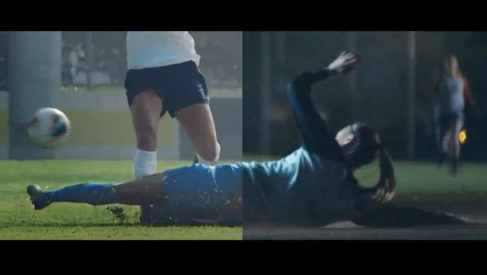 The image shows a screenshot from the new Nike ad.
