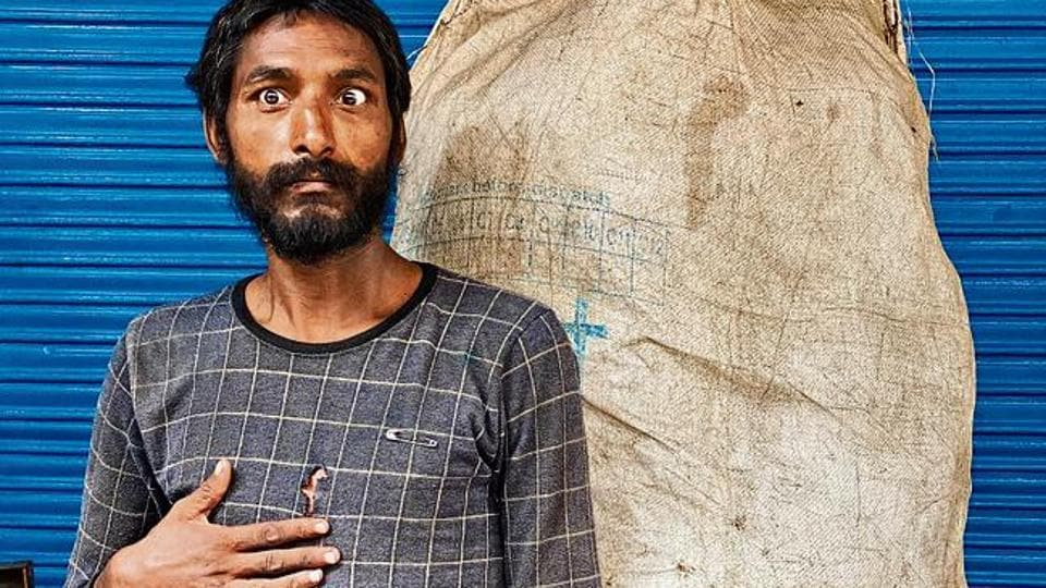 In his 20s, Raju makes a living by picking up reusable stuff people throw on the streets, which he sells to recyclers.