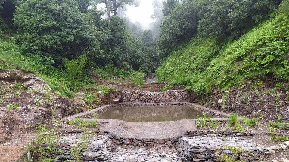 Different types of check-dams, trenches made as part of Heval river rejuvenation project.