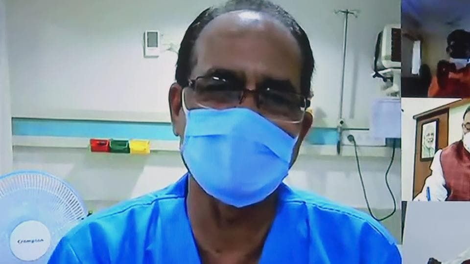 Madhya Pradesh Chief Minister Shivraj Singh Chouhan who undergoing treatment for COVID-19, chairs a virtual cabinet meeting from the hospital, in Bhopal.