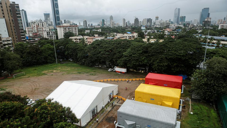 A general view of a temporary facility created to facilitate cancer patients diagnosed with coronavirus disease (Covid-19) in Mumbai.