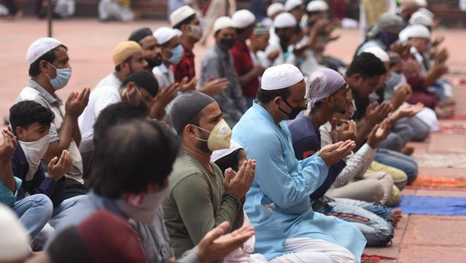 People praying at the Jama Masjid on the eve of Eid al-Adha in New Delhi on Friday