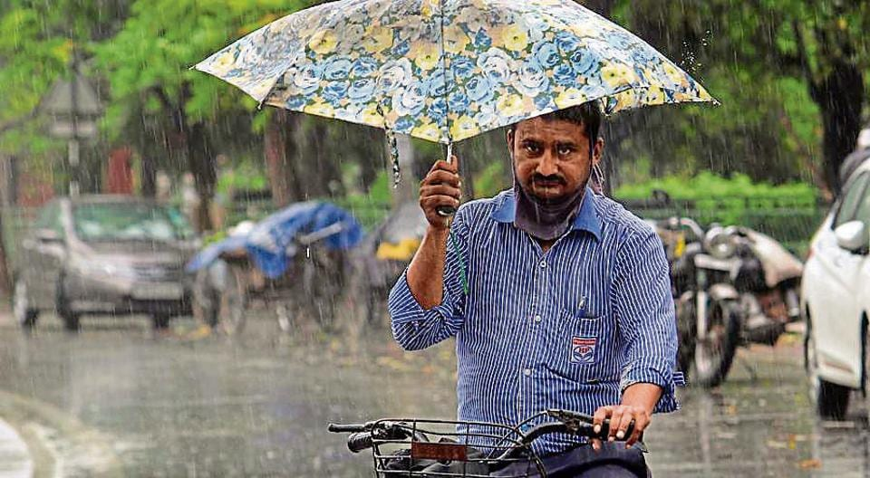 A man balances an umbrella while cycling in the rain in Mohali on Saturday.