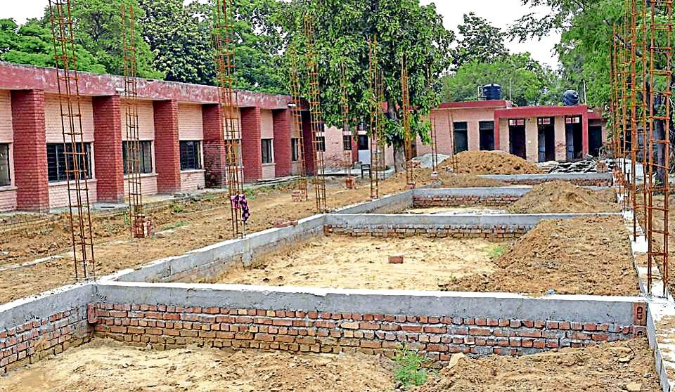 New classrooms being constructed at Government Model Senior Secondary Smart School, PAU, in Ludhiana on Saturday.