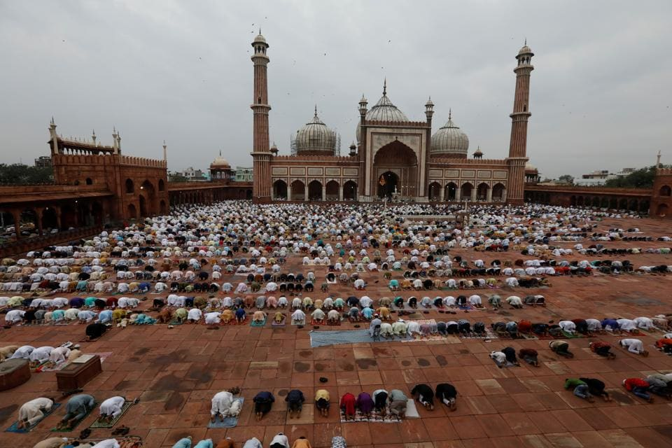 Muslims offer Eid al-Adha prayers at the Jama Masjid (Grand Mosque) during the outbreak of the coronavirus disease (COVID-19), in the old quarters of Delhi, India, August 1, 2020.
