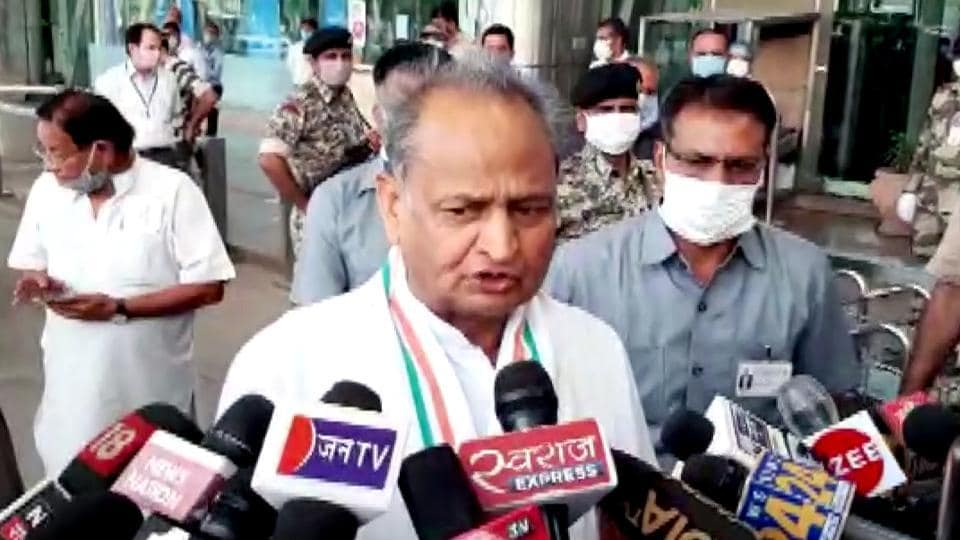Rajasthan Chief Minister Ashok Gehlot speaks to media as he arrives at Jaipur Airport, in Jaipur on Friday, July 31, 2020.