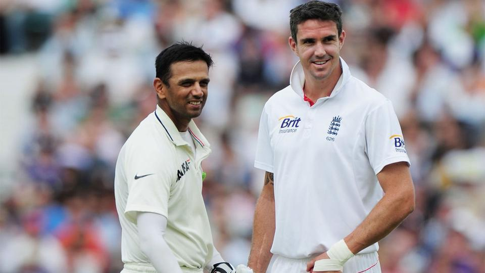 Rahul Dravid and Kevin Pietersen during the 2011 Test series between India and England.