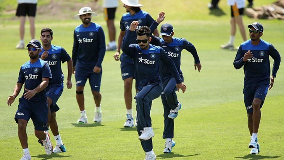 Players of the Indian cricket team during a warm-up session back in 2015.