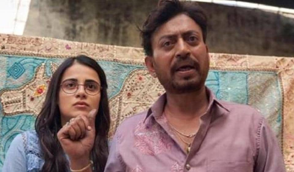 Radhika Madan and Irrfan Khan in a still from Angrezi Medium.