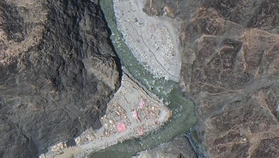 Maxar WorldView-3 satellite image shows close up view of the Line of Actual Control (LAC) border and patrol point 14 in the eastern Ladakh sector of Galwan Valley on June 22, 2020.