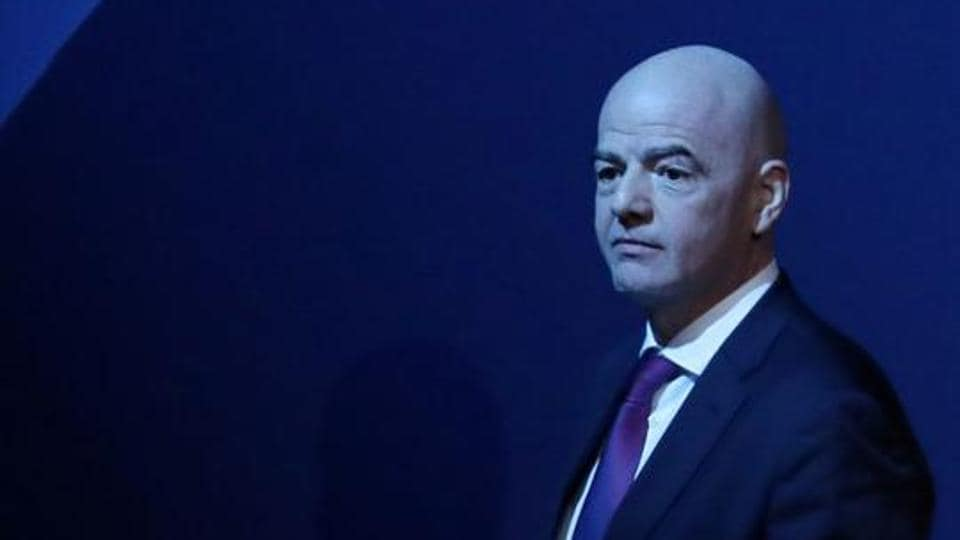 FIFA President Gianni Infantino after his speech during the UEFA Congress.