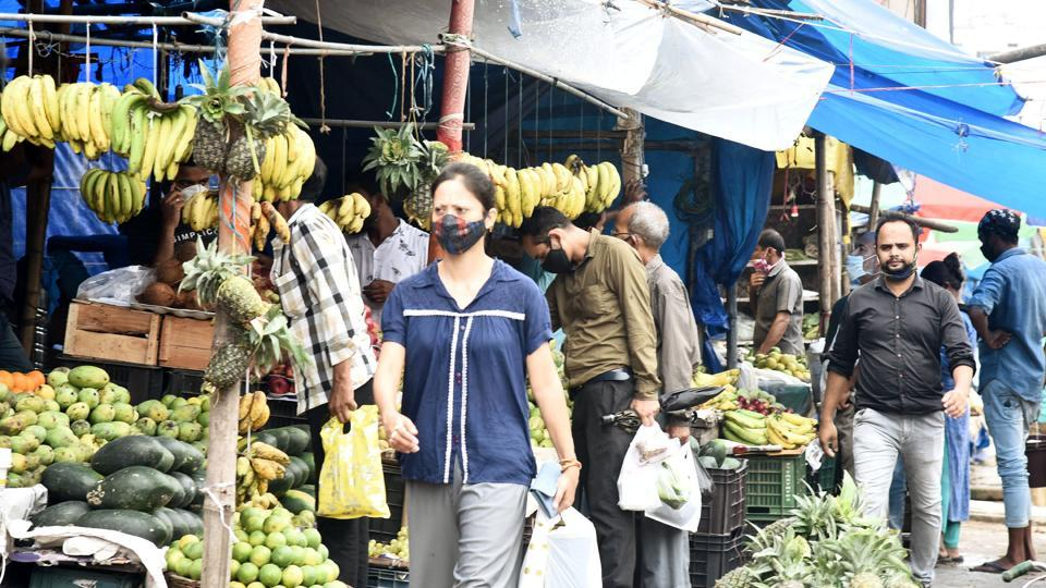 People shopping for food in Guwahati, Assam.